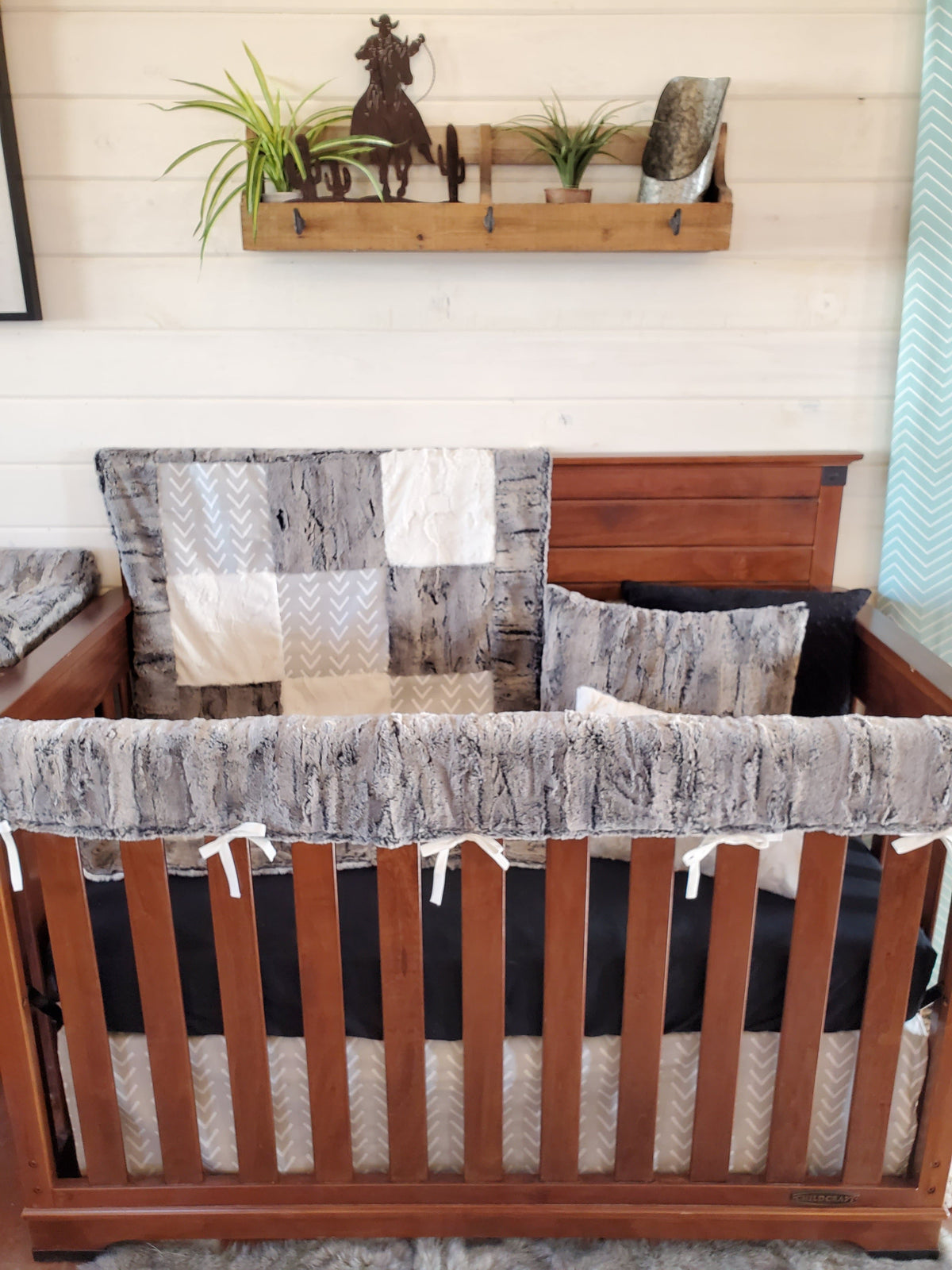Ready to Ship Neutral Crib Bedding - Rabbit Minky and French Gray Arrowhead Collection
