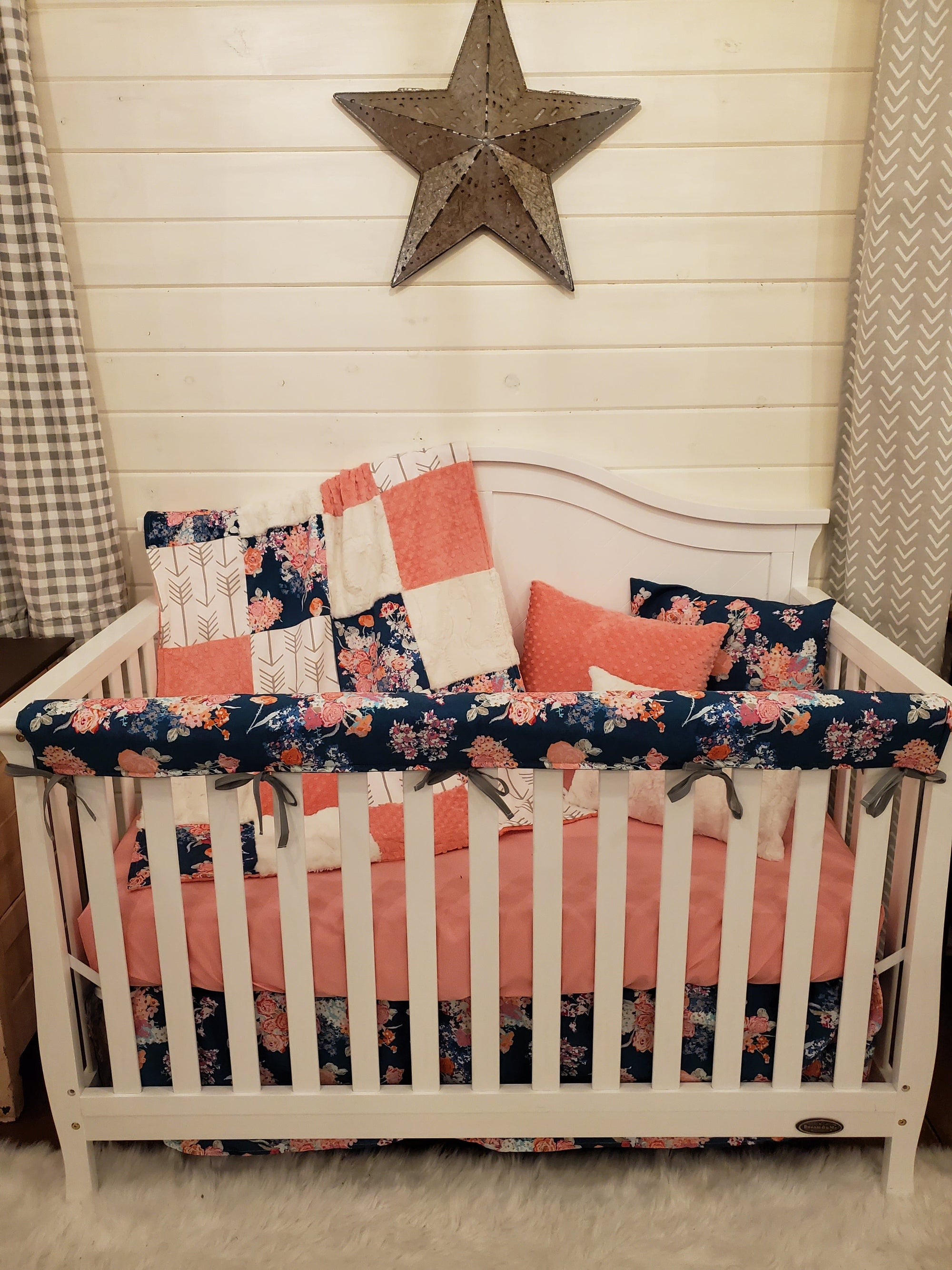 Pre-Order Girl Crib Bedding - Navy Floral Collection