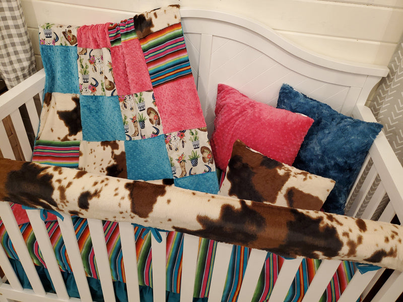 Ready to Ship Girl Crib Bedding - Serape and Cow Minky Collection