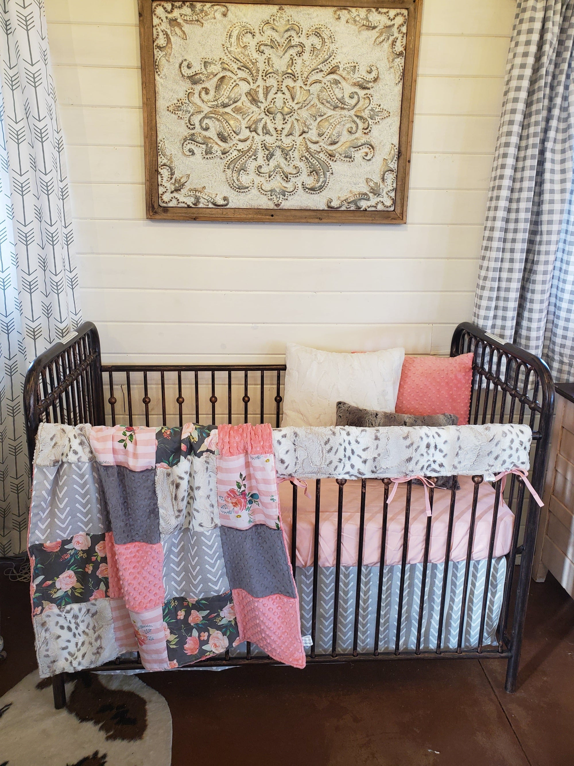 Custom Girl Crib Bedding - Floral Stripe and Snow Leopard Minky Floral Collection