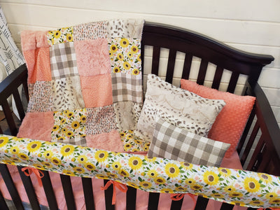 Custom Girl Crib Bedding - Sunflower and Snow Leopard Minky Collection