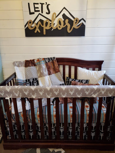 Ready to Ship Boy Crib Bedding - Buck and Red Fox Minky Nursery Collection