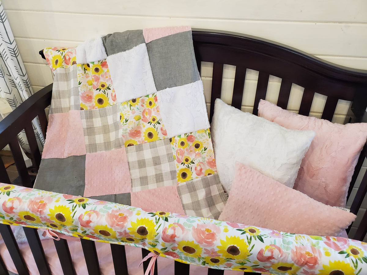 Custom Girl Crib Bedding- Sunflower and Rose's, Gray Check, and Blush Minky, Sunflower and Rose Collection