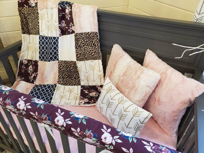 Pre-Order Girl Crib Bedding - Maroon Flowers and Rosewater Fawn Minky Collection
