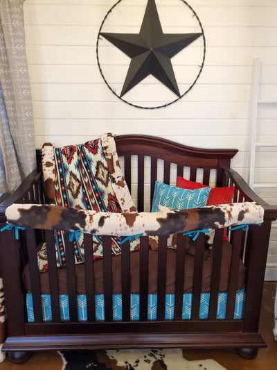 Ready to Ship Boy Crib Bedding - Aztec and Cow Minky Nursery Collection