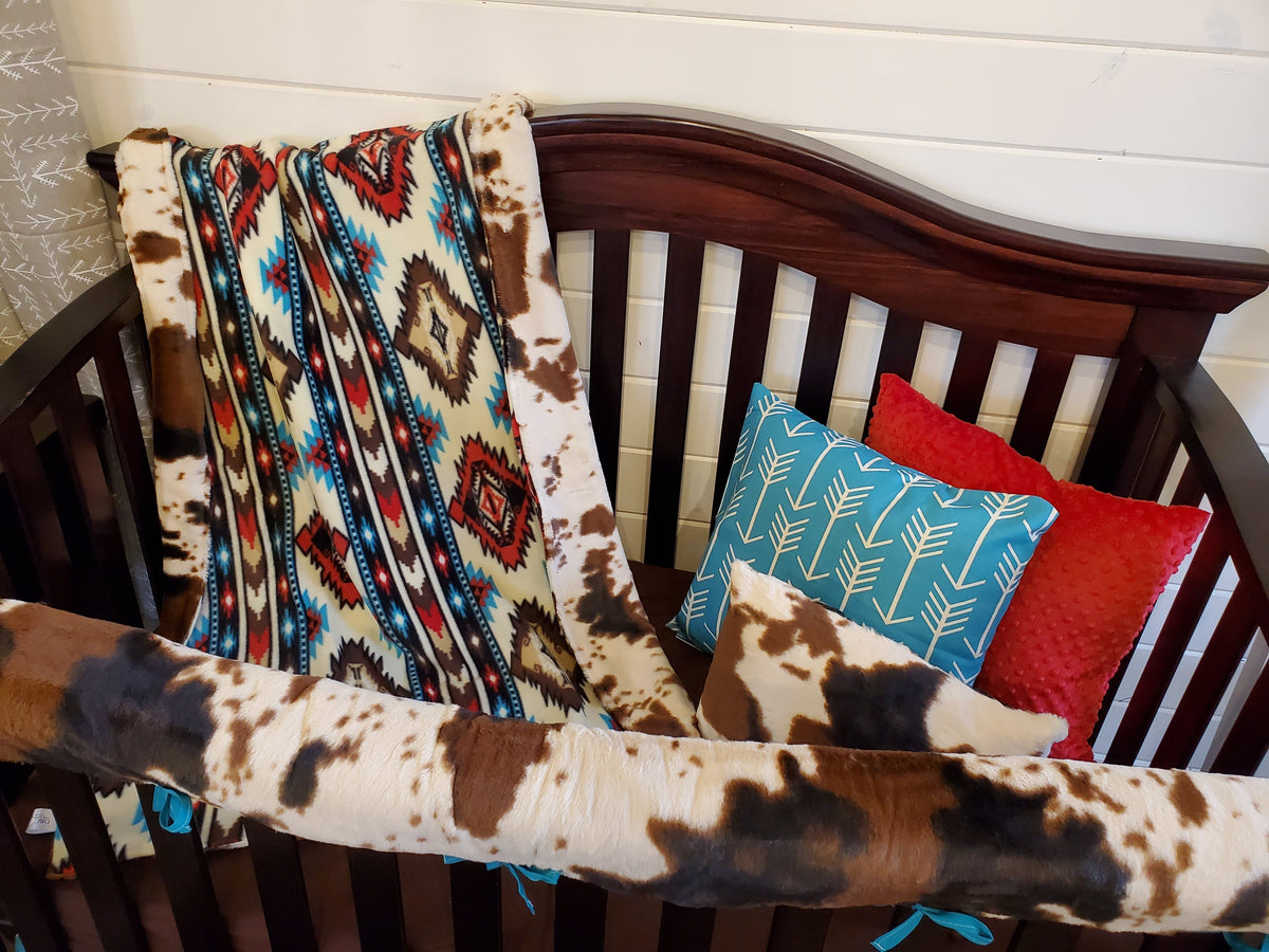Ready to Ship Boy Crib Bedding - Aztec and Cow Minky Ranch Collection