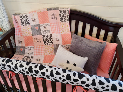 Custom Girl Crib Bedding - Cows Come Home Collection