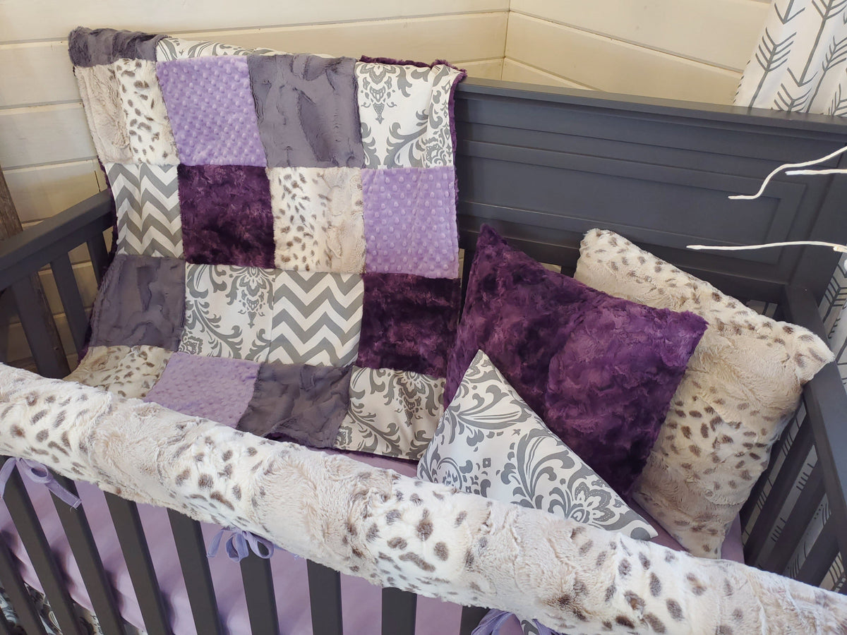 Ready to Ship Girl Crib Bedding - Damask and Snow Leopard Collection