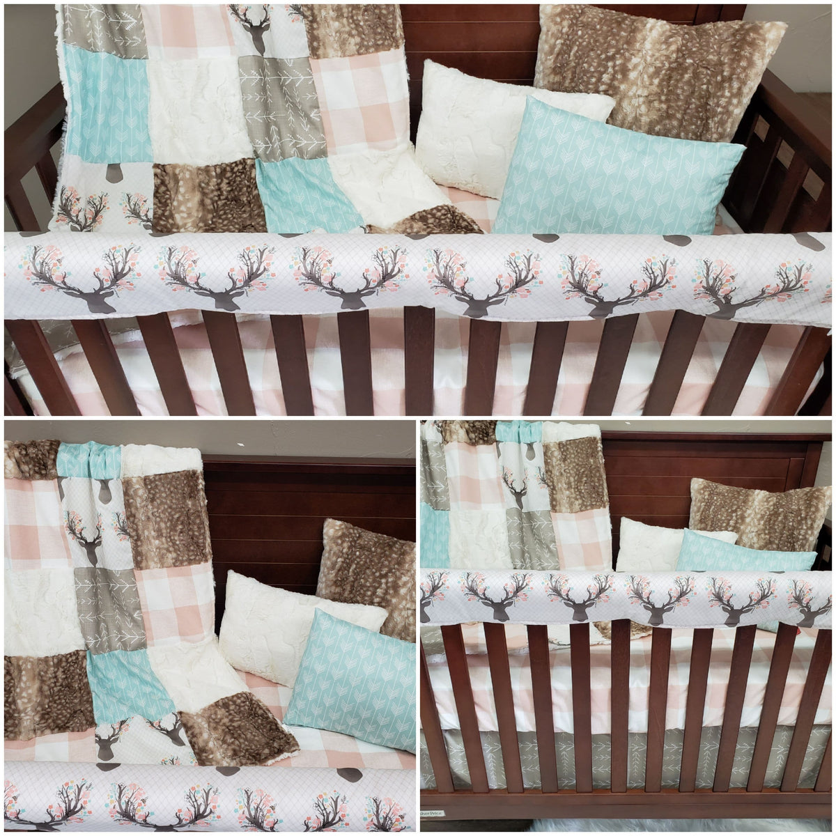 Custom Girl Crib Bedding- Fawn, Peach Buffalo Check, and Arrow Nursery Collection