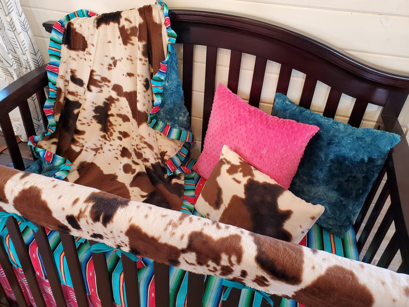Ready to Ship Girl Crib Bedding - Serape Stripe and Cow Minky Collection