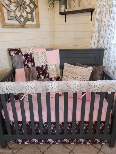 Pre-Order Girl Crib Bedding - Maroon Flowers and Snow Leopard Minky Collection