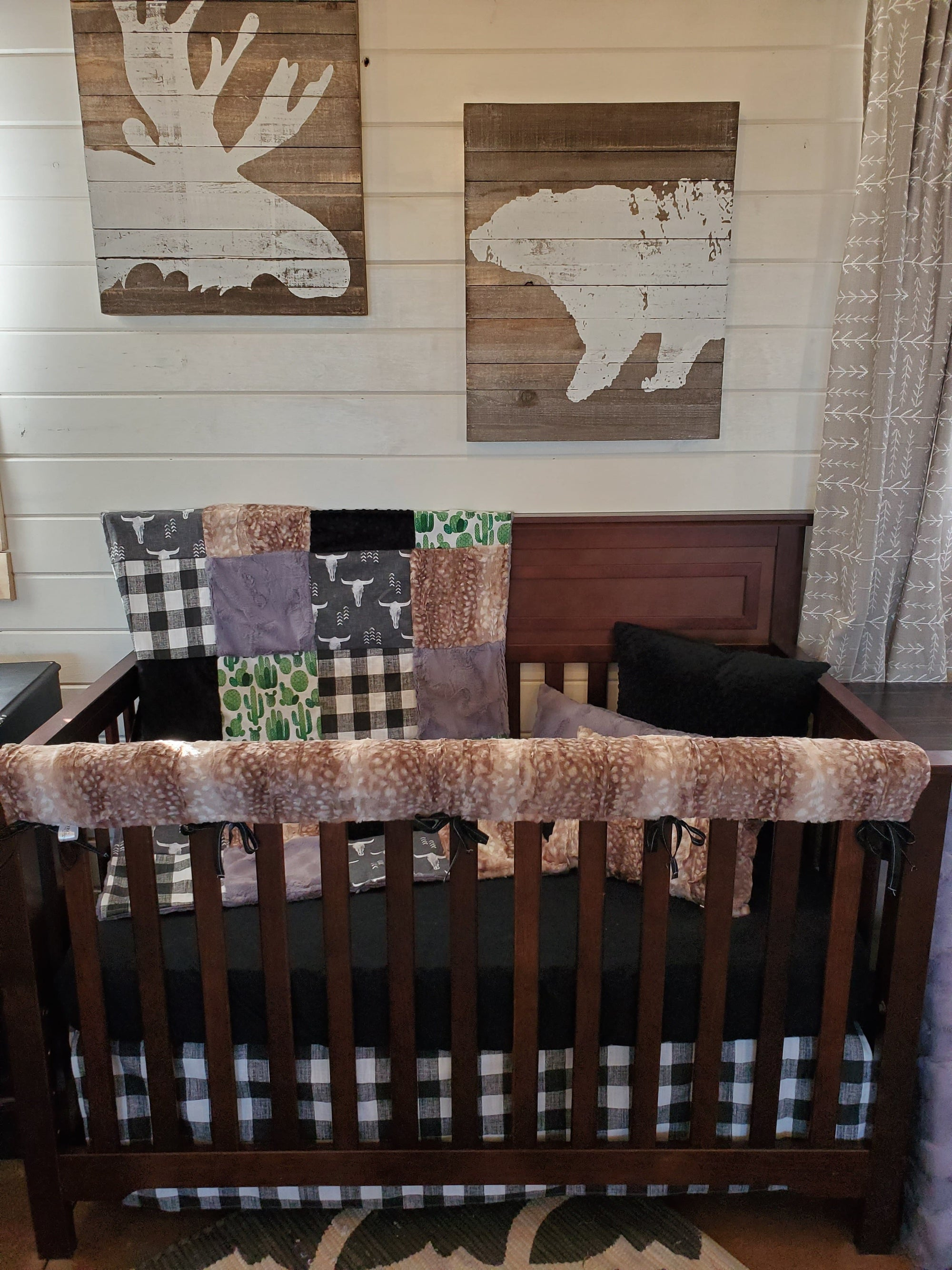 Ready to Ship Boy Crib Bedding - Longhorn and Fawn Minky Collection