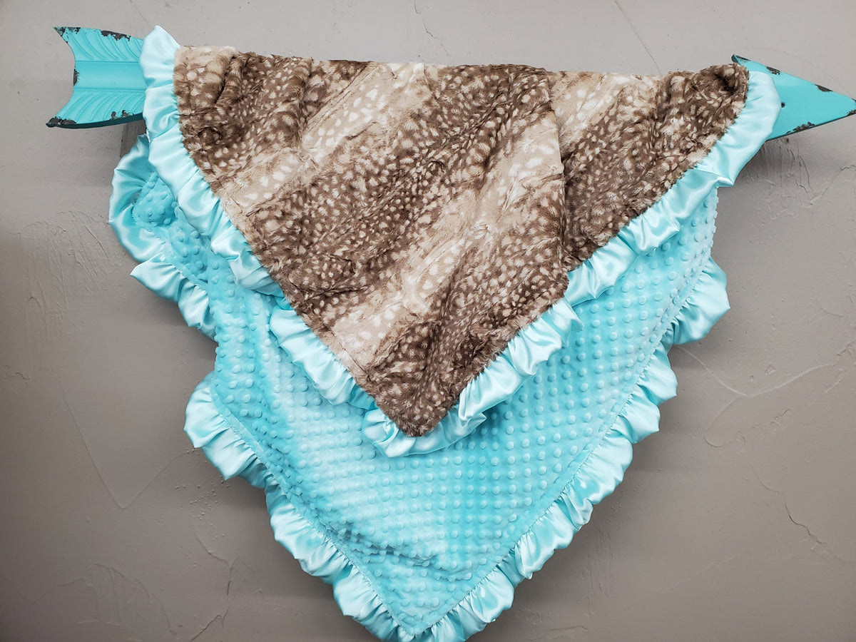 Ruffle Blanket - *1 Name Embroidered Free* Fawn minky with Saltwater Minky and Saltwater satin ruffle