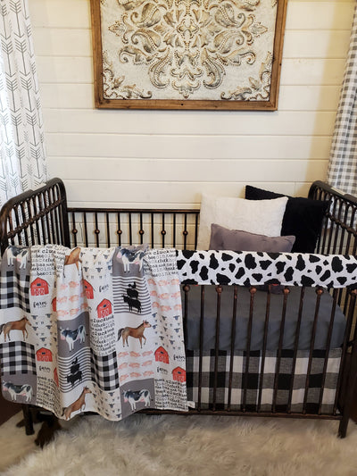 Custom Neutral Crib Bedding- Farm Cow Collection
