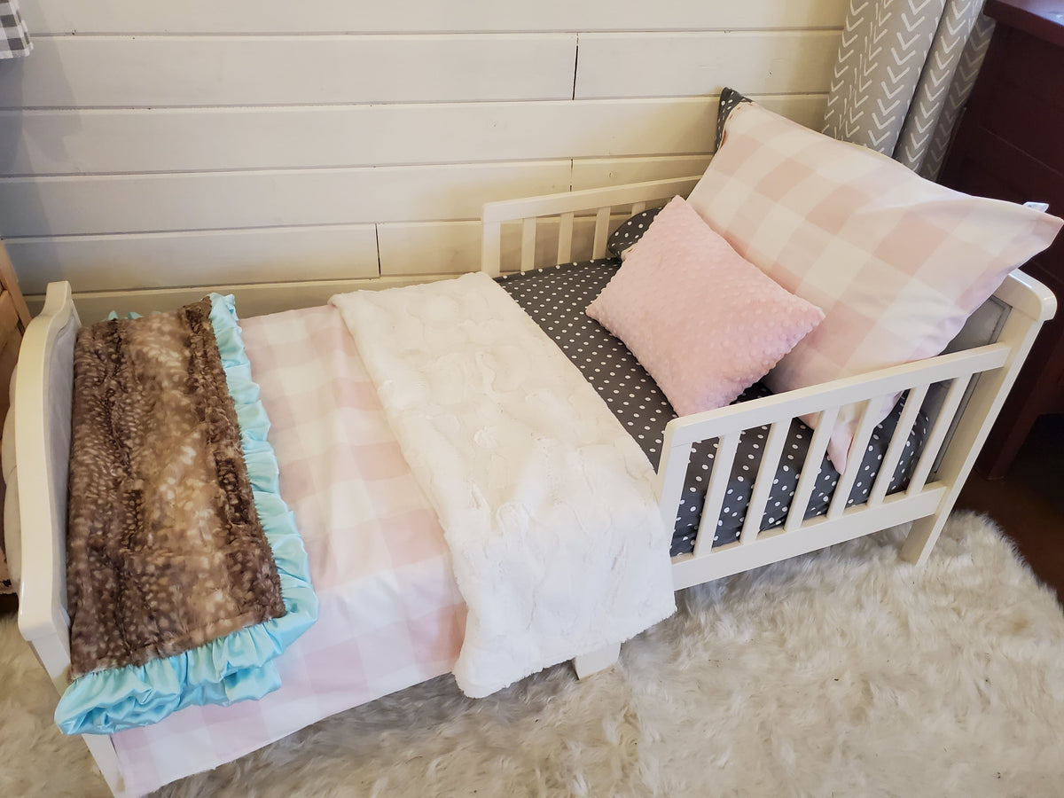 Toddler or Twin Bedding -  Blush Check Collection