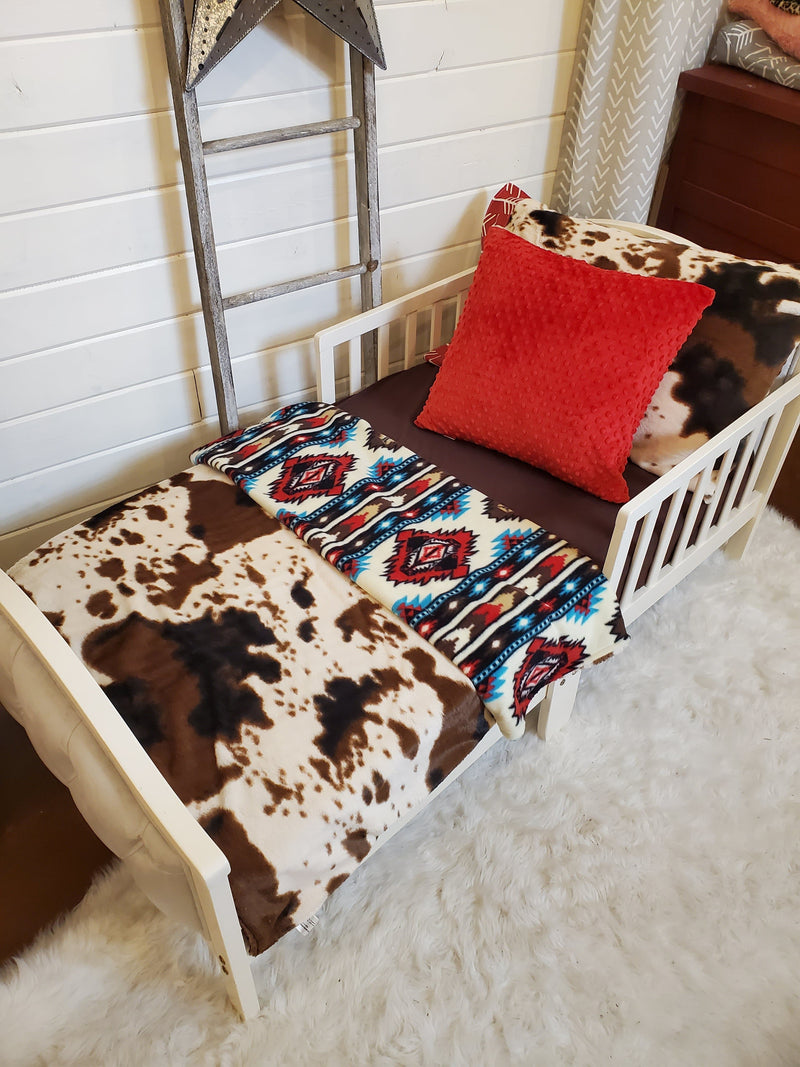 Toddler or Twin Bedding -  Cow Minky and Aztec Collection