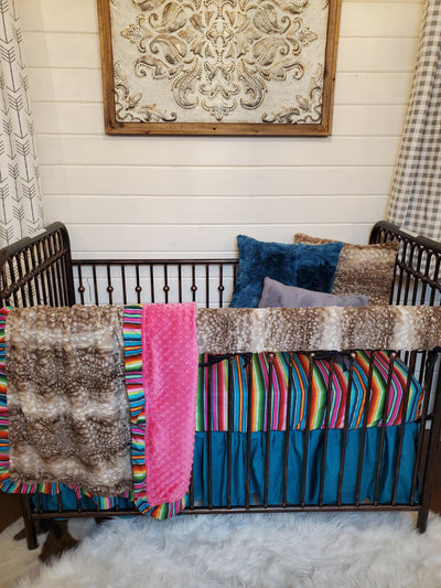 Ready to Ship Girl Crib Bedding - Serape and Fawn Collection