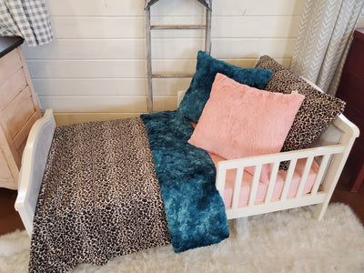 Toddler or Twin Bedding -  Cheetah Minky and Mallard Galaxy Minky Collection