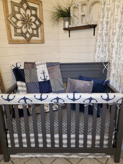 Ready to Ship Boy Crib Bedding- Nautical Anchor Collection