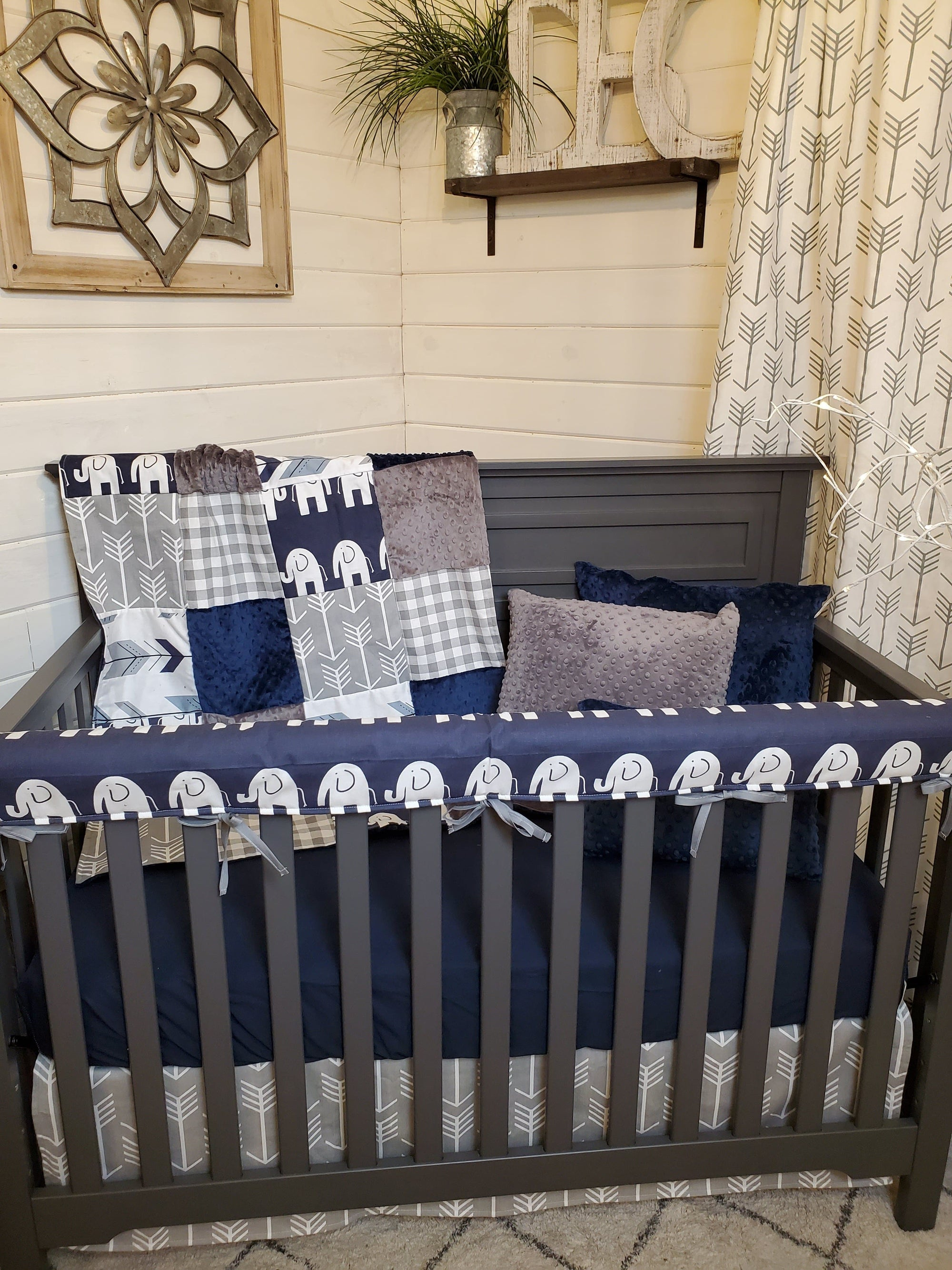 Ready to Ship Boy Crib Bedding- Elephant Collection