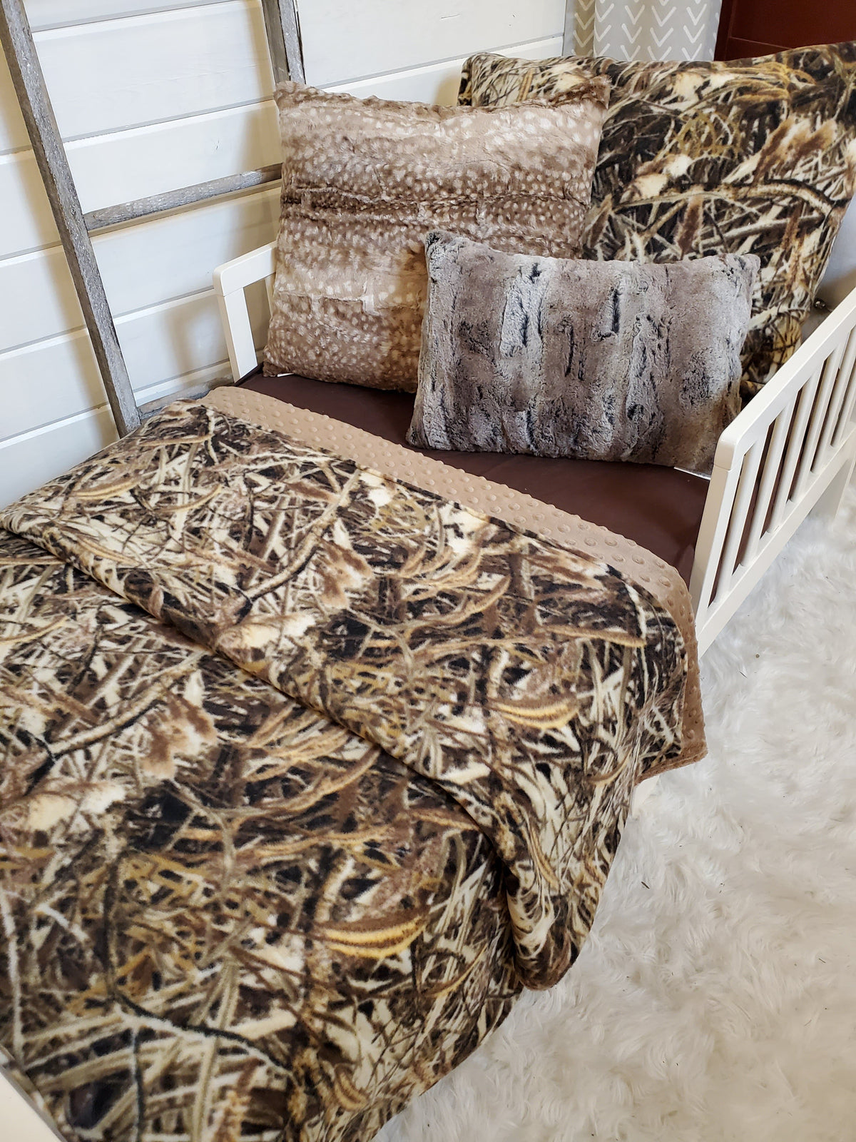Toddler or Twin Bedding -  Switchgrass Camo and Taupe Minky Collection