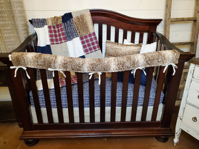 Ready to Ship Boy Crib Bedding- Plaid and Herringbone Collection