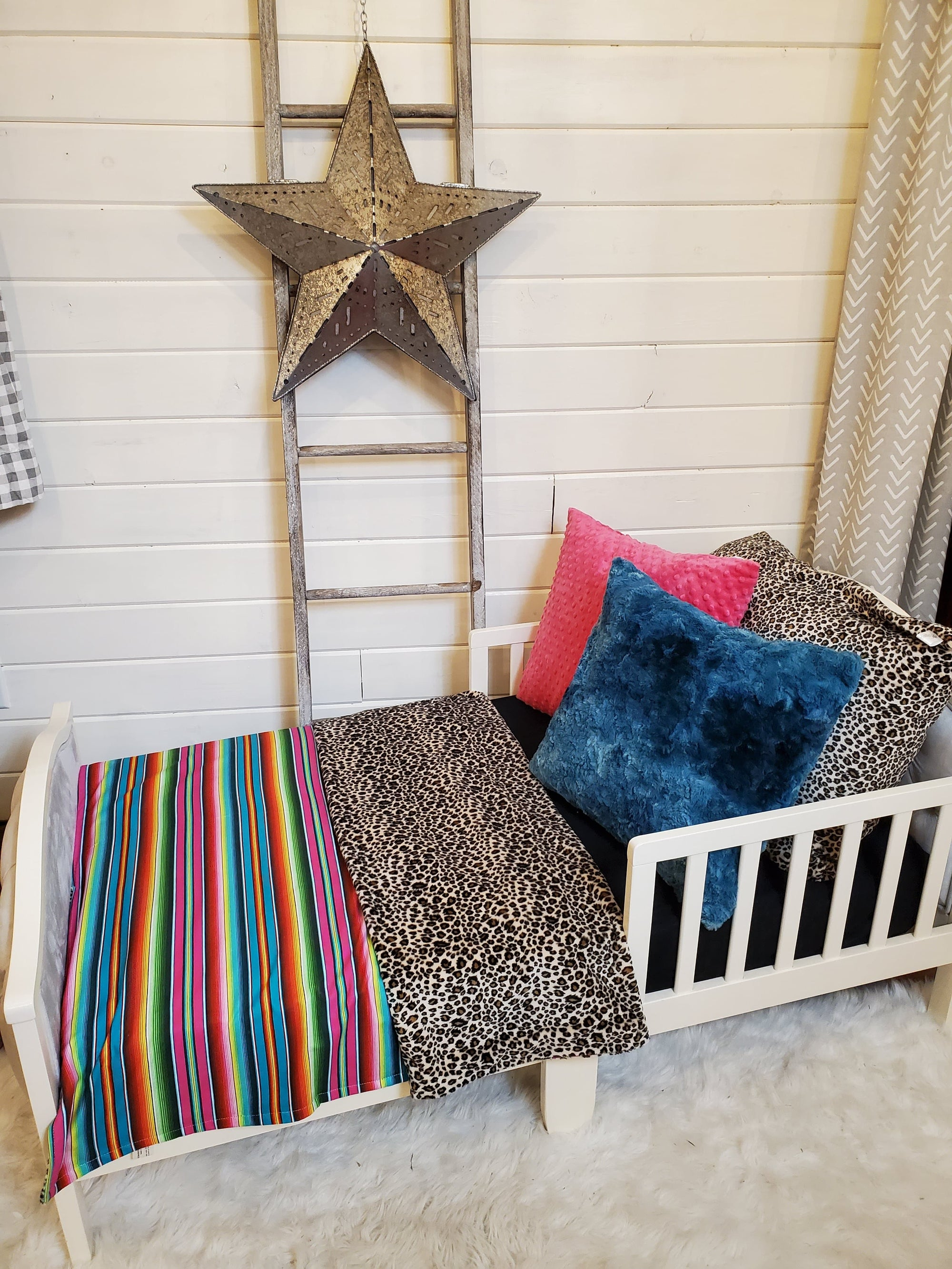 Toddler or Twin Bedding -  Serape and Cheetah Minky Collection