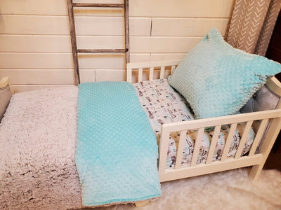 Toddler or Twin Bedding -  Premium Sherpa and Saltwater Minky Collection