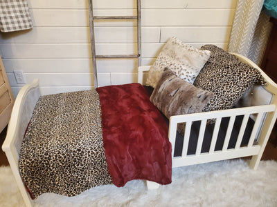 Toddler or Twin Bedding -  Cheetah Minky and Wine Hide Minky Collection
