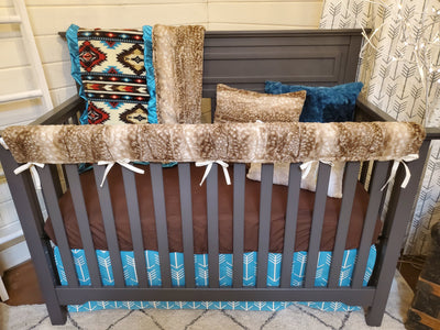 Ready to Ship Neutral Crib Bedding- Aztec and Fawn Minky Woodland Collection