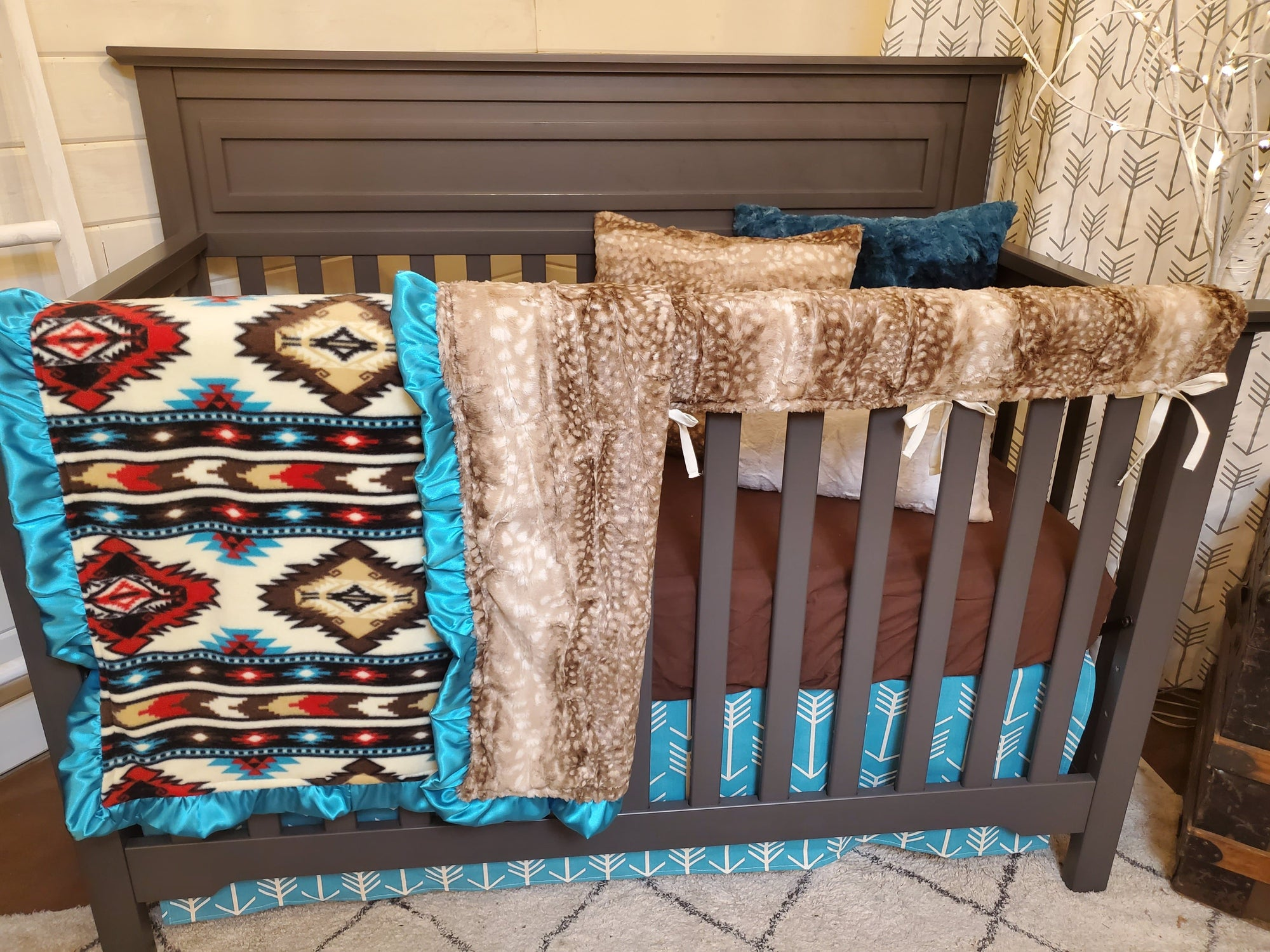 Ready to Ship Neutral Crib Bedding- Turquoise Aztec and Fawn Minky Collection