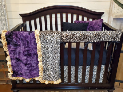 Ready to Ship Girl Crib Bedding- Cheetah Minky and Plum Galaxy Minky Collection