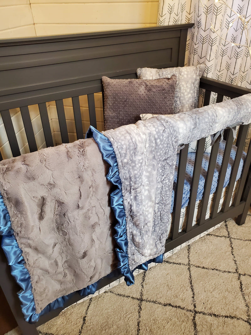 Ready to Ship Neutral Crib Bedding- Silver Fawn Minky and Denim Blue Collection