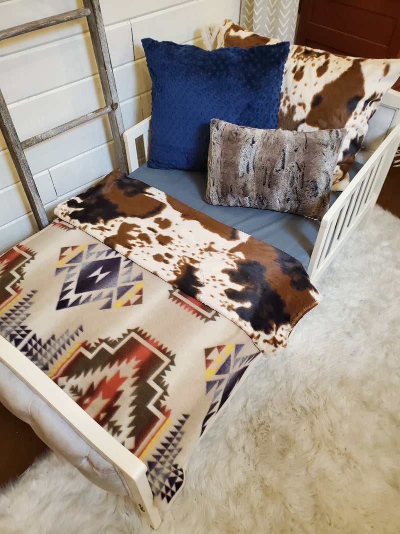 Toddler or Twin Bedding -  Cow Minky and Tan Aztec Collection