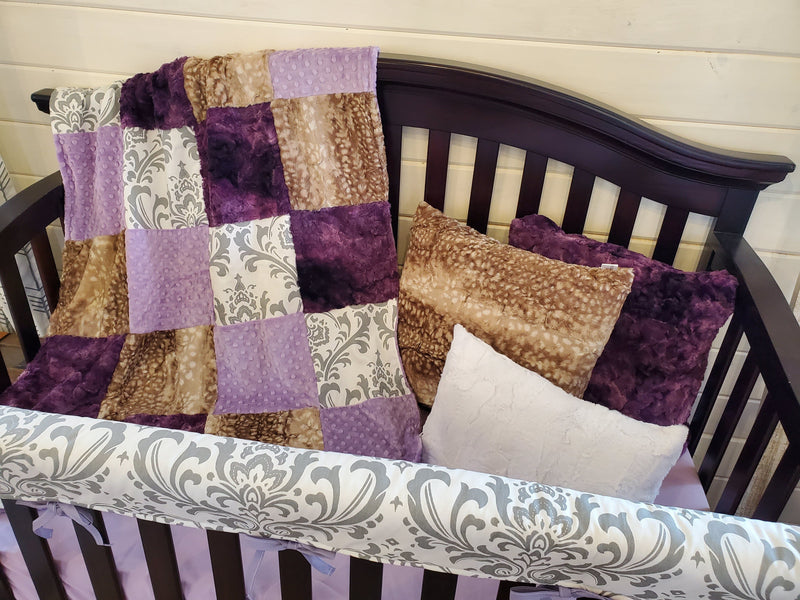 Ready to Ship Girl Crib Bedding- Damask, Lilac, and Fawn Collection