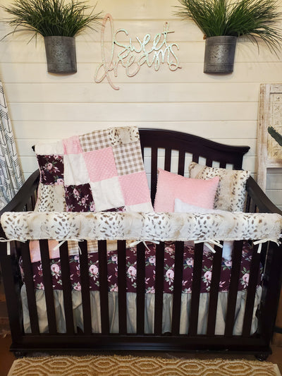Pre-Order Girl Crib Bedding- Maroon Floral and Snow Leopard Collection