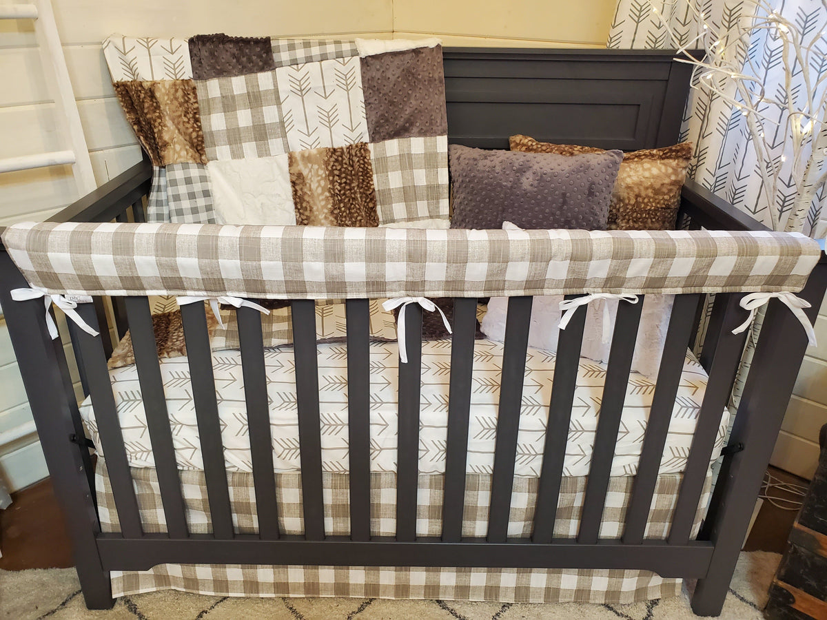 Ready to Ship Neutral Crib Bedding- Farm House Check and Fawn Minky Collection