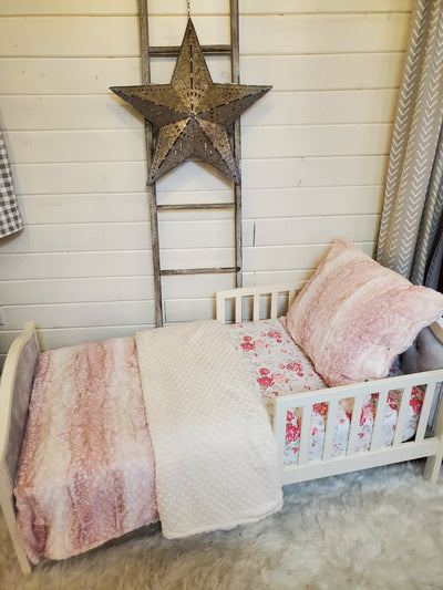 Toddler or Twin Bedding -  Rosewater Fawn Minky Collection