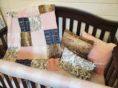 Ready to Ship Girl Crib Bedding- Damask and Fawn Minky Collection