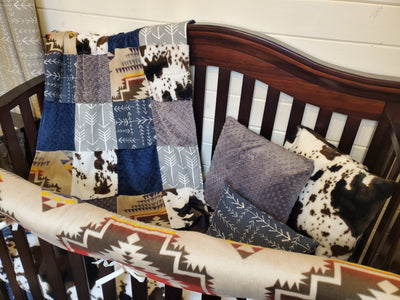 Ready to Ship Boy Crib Bedding- Tan Aztec and Cow Minky Cowboy Collection