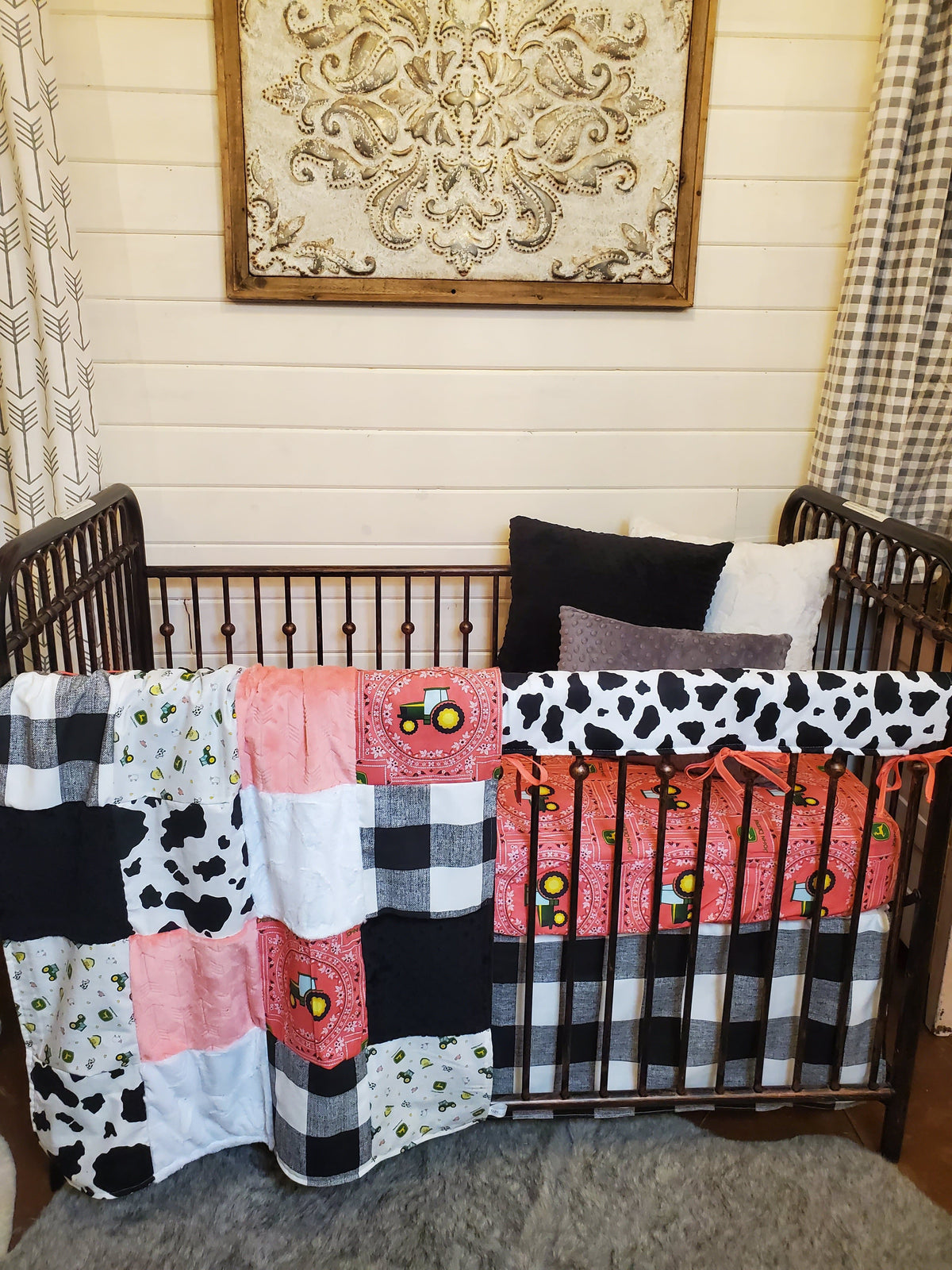 Ready to Ship Girl Crib Bedding- Tractor and Cow Print Collection