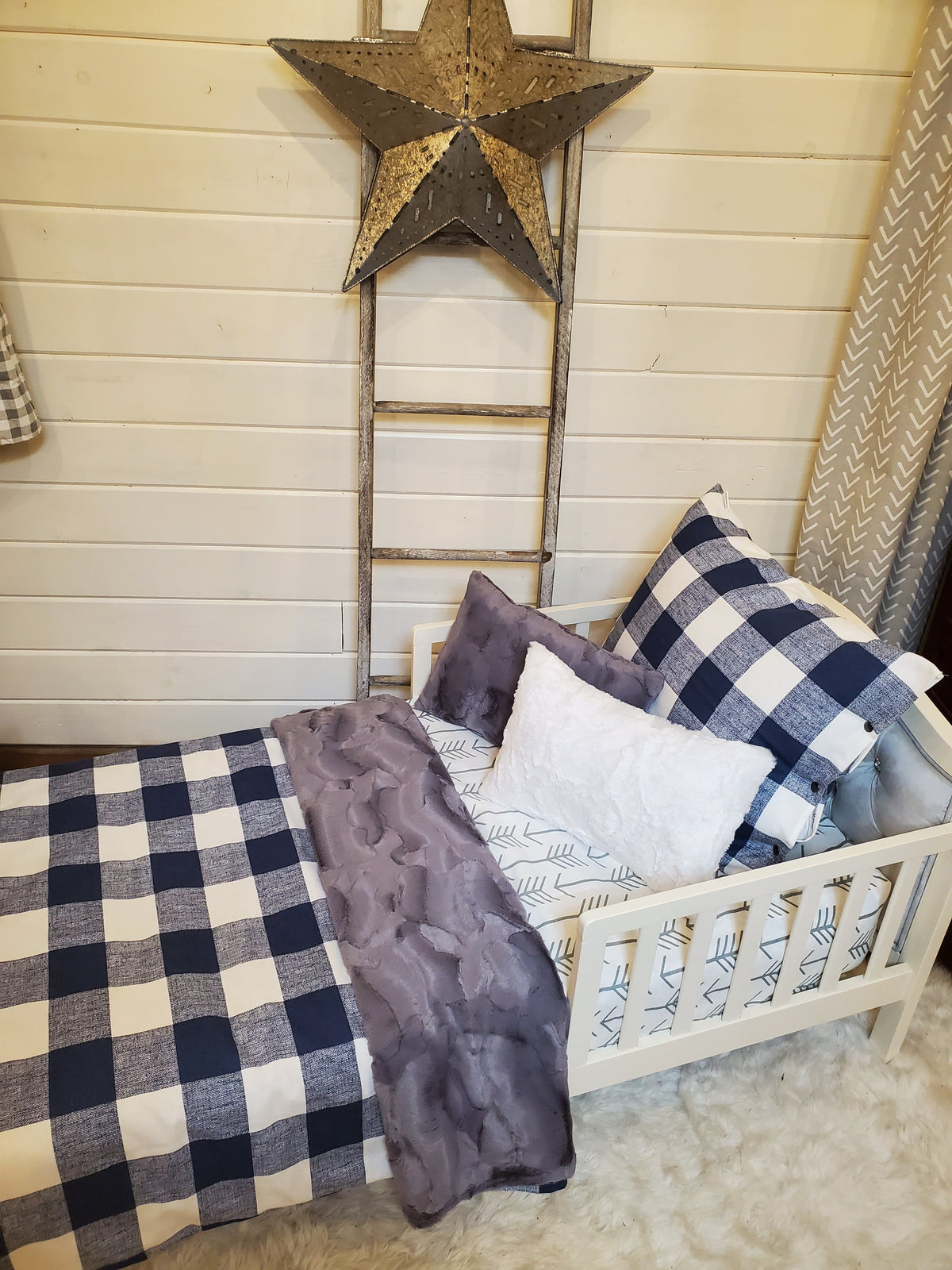 Toddler or Twin Bedding -  Navy Check and Arrow Collection