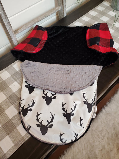 Swaddle Blanket - Red black check and Black Buck