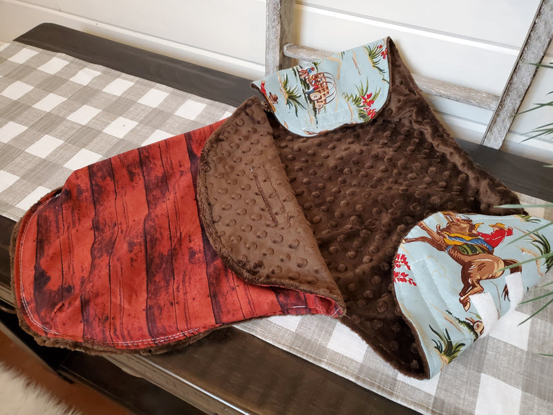 Swaddle Blanket - Barn Dandy Cowboys and Red Barnwood