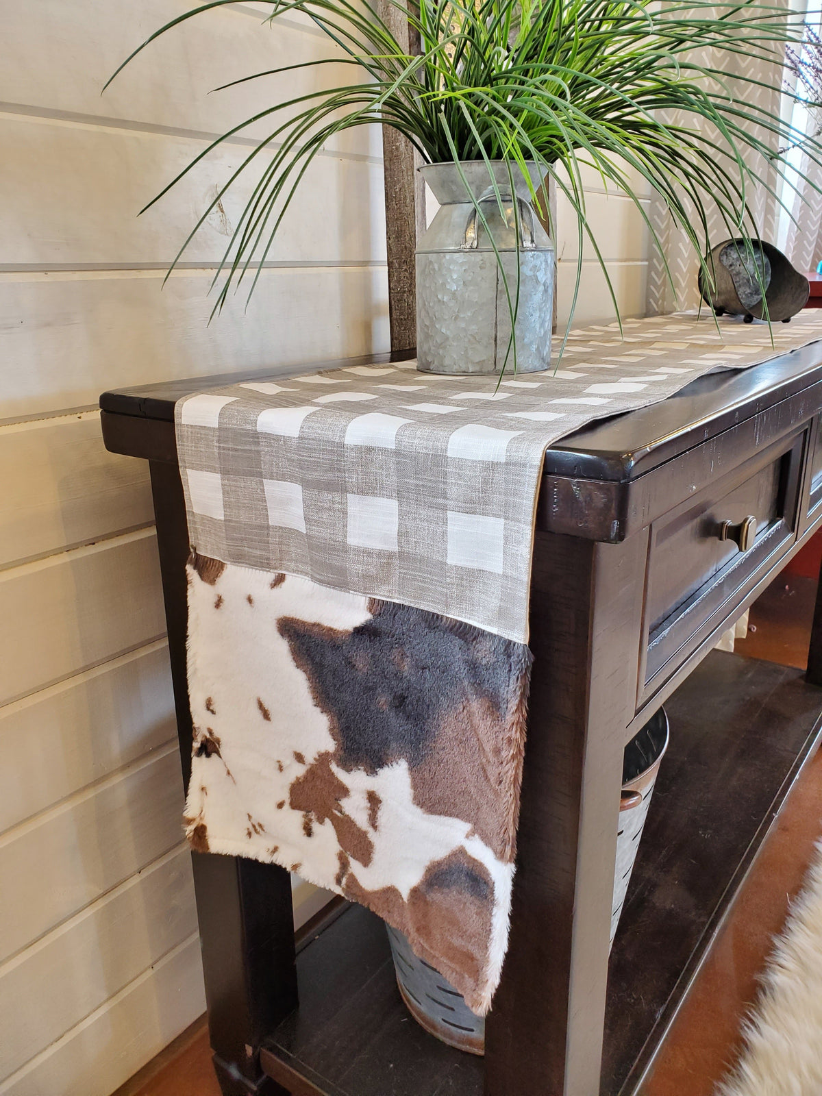 Home Decor- Table Runner -Ecru Slub Check with Cow Minky decorative ends