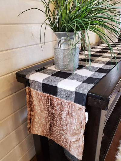 Home Decor- Table Runner -Black White Check with Fawn Minky decorative ends