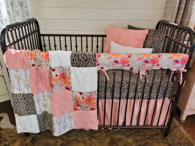 Custom Girl Crib Bedding- Watercolor Flowers and Cheetah Minky Collection