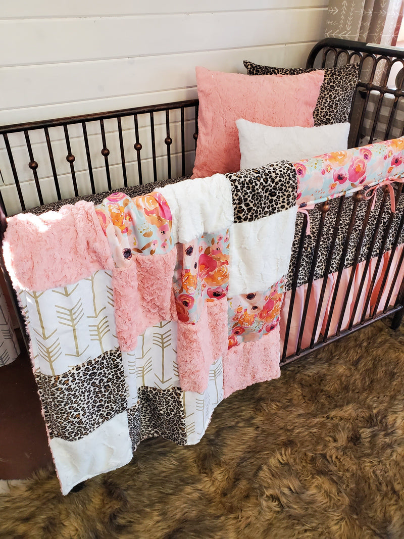Ready to Ship Girl Crib Bedding- Watercolor Flowers and Cheetah Minky Collection