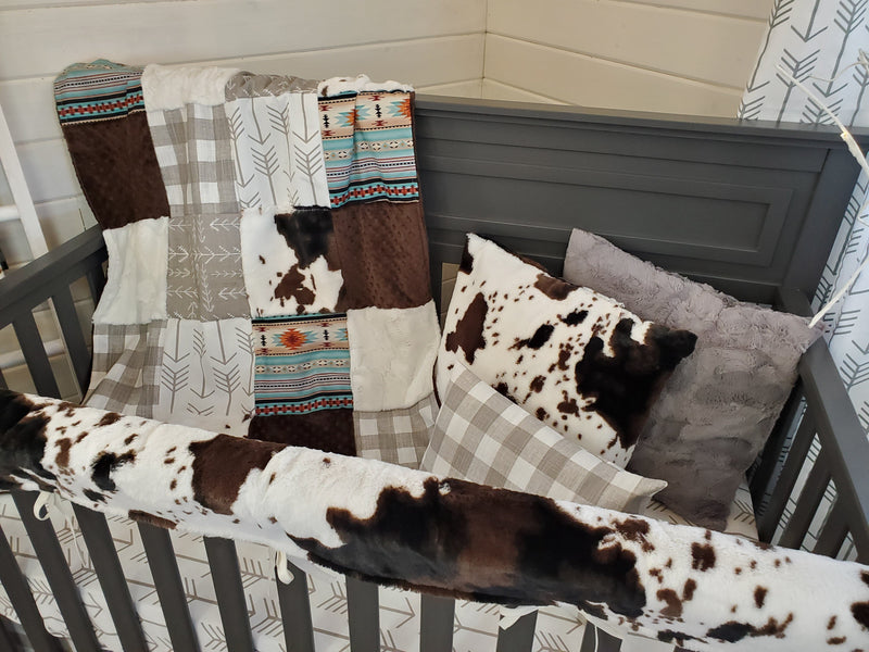 Ready to Ship Neutral Crib Bedding- Farm House Check and Cow Minky Collection