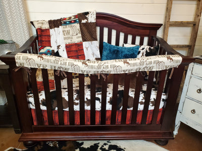 Custom Boy Crib Bedding- Cowboy, Steer, and Cow Minky Collection